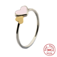 Luminous Hearts Feature Rings with 14K Real Gold 925 Sterling Silver Jewelry Free Shipping