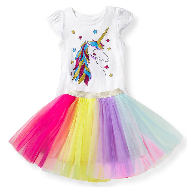 b60fe3c24b21 Baby Girl Clothes Unicorn T shirts + Rainbow Tutu Skirt Girls Two Piece Set  Kids Outfit 2019 Summer Children Clothing Sets 2-7Y