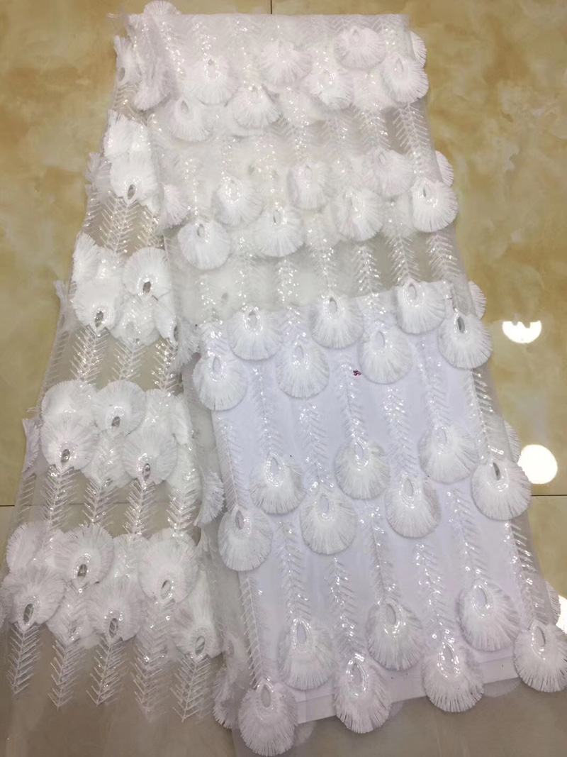 (5yards/pc) pure white African wedding lace fabric fashion French net lace fabric with feather pattern for party dress FZZ169(5yards/pc) pure white African wedding lace fabric fashion French net lace fabric with feather pattern for party dress FZZ169