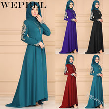 WEPBEL 4 Colors Muslim Islamic Floral Printed Long Dress Women Elegant Long Sleeve Dress Floor Length Abaya Long Robes(China)