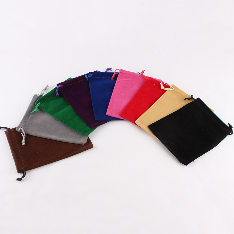 100pcs/lot 12*15cm Customized Logo Printed Wedding Favor Velvet Drawstring Pouch Packing Bags