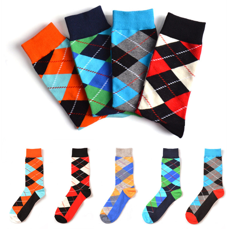 1 Pairs Summer Fashions Happy Socks Men 5 Colors High Ankle Long Socks Funny Colorful Diamond Cotton Sock Sokken meias