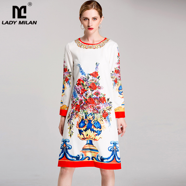 New Arrival 2018 Womens O Neck Long Sleeves Floral Printed Elegant Straight Fashion Dresses
