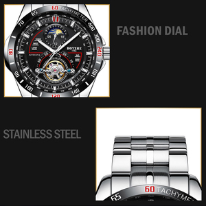 Image 5 - BOYZHE Mens Automatic Mechanical Fashion Top Brand Sports Watches Luxury Tourbillon Moon Phase Stainless Steel Watch Clock saat