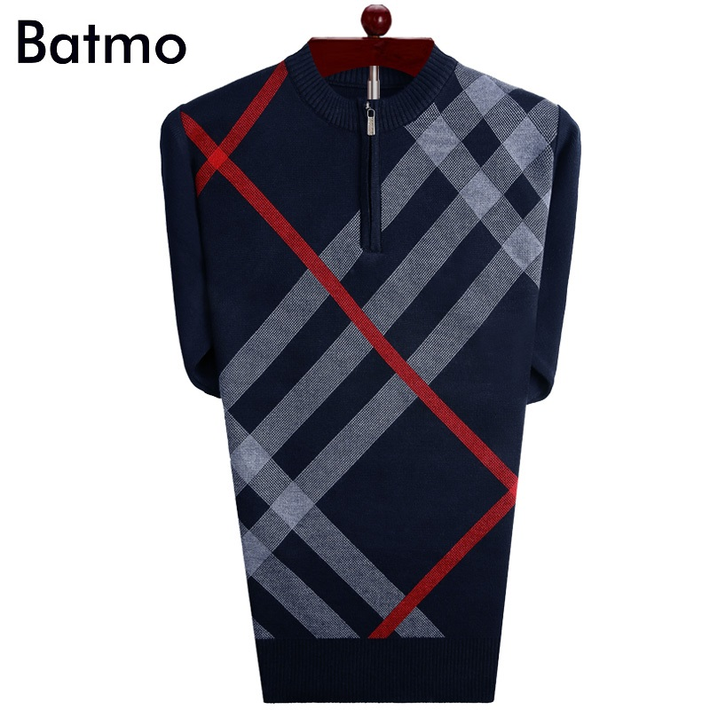 Batmo 2018 new arrival high quality sweater men,plaid casual men's sweater  A7