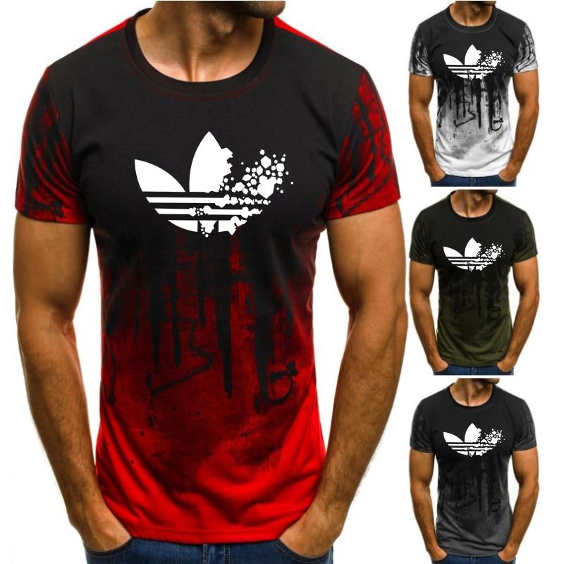 Running T-Shirt Short-Sleeved Sports 3d-Printing Stripe Brand O-Neck Loose Men's