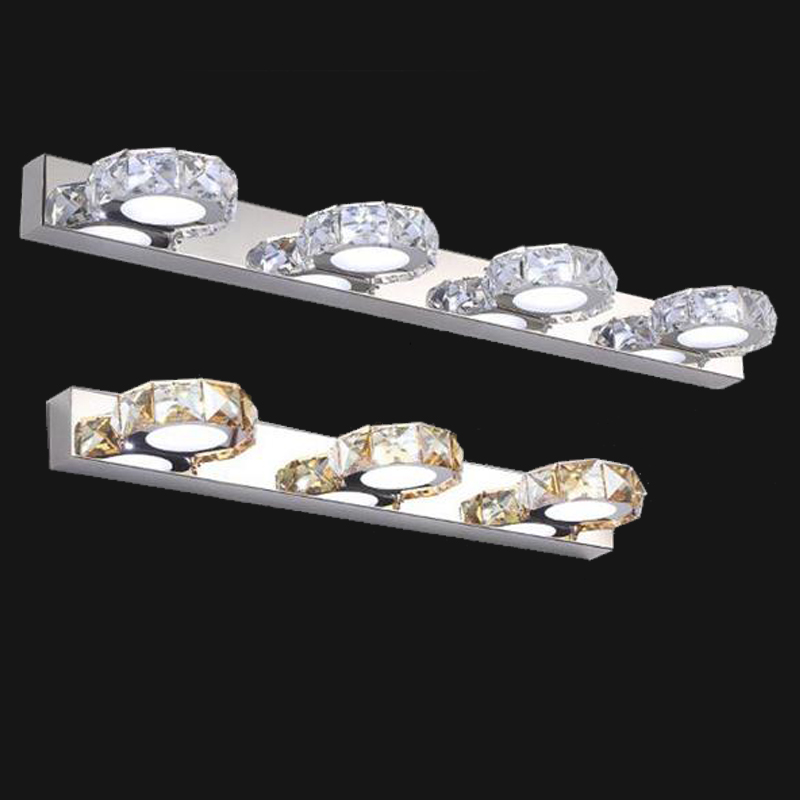 ФОТО Free shipping modern  stainless steel crystal mirror front wall sconces living room bed room wall lamp AC 110V 240V