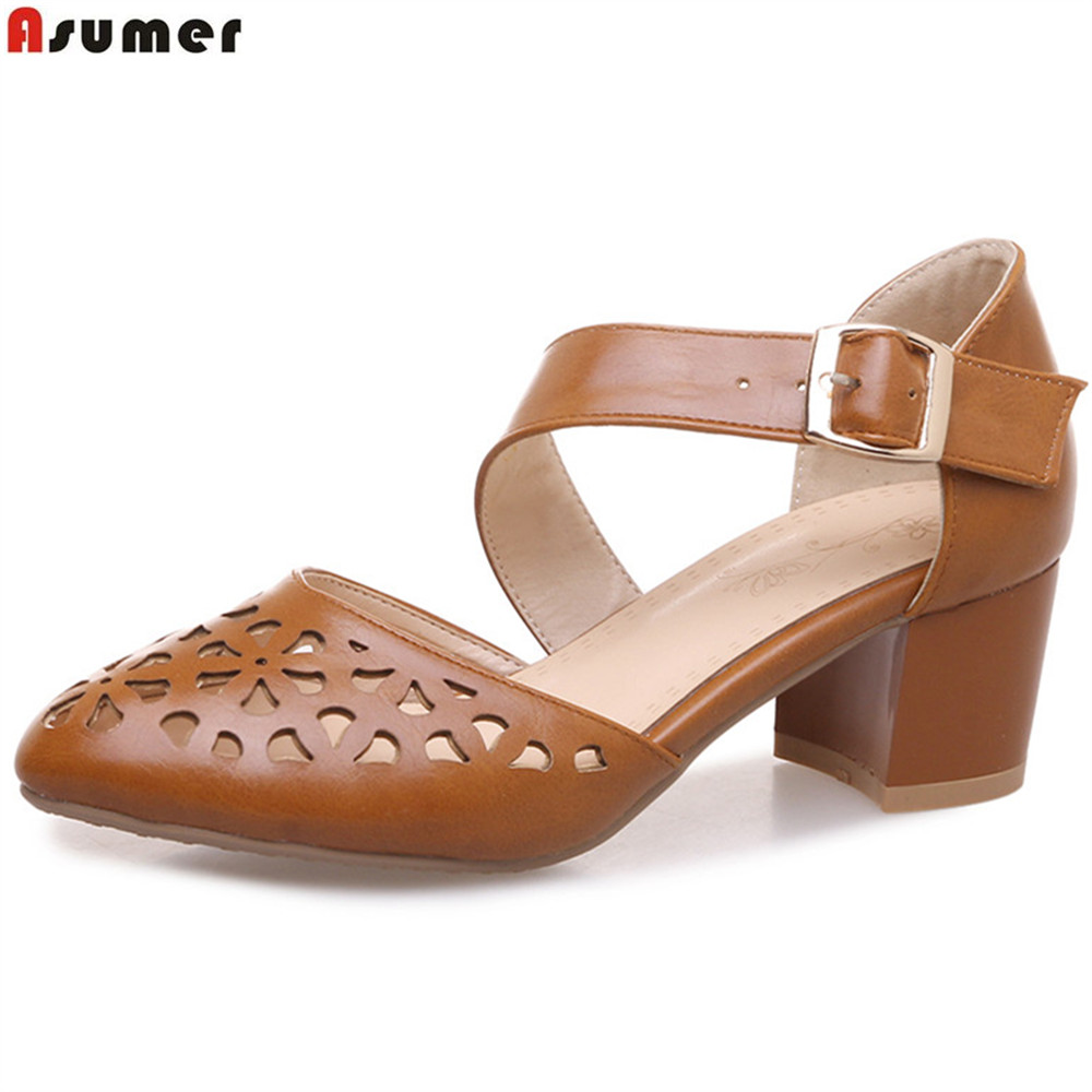 ASUMER brown white fashion ladies single shoes round toe buckle spring autumn shoes women square heel high heels shoes big size ladies comfortable women office shoes sandals square heels spring 2017 real leather round toe solid high heels big size 40 41 42