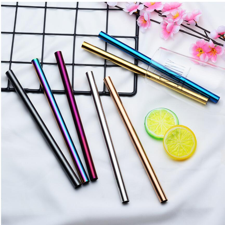 Diameter 12 mm Reusable Drinking Straw Fat Metal 304 Stainless Steel Straight Juice Straws With Brush