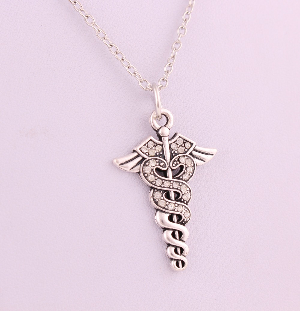 New Arrival Antique Sliver Plated Caduceus Medical Symbol Staff With