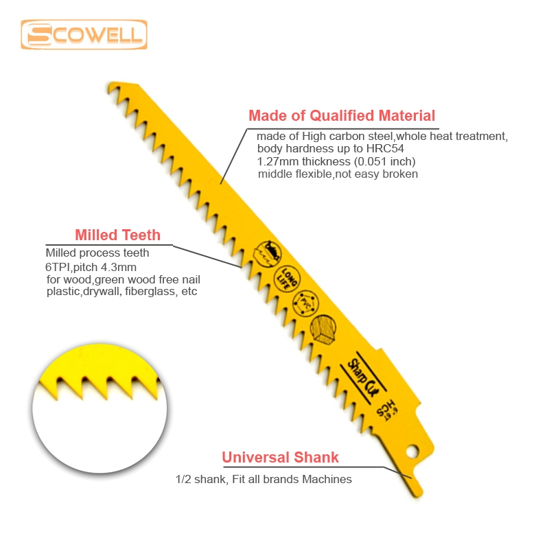 Image 3 - 30% OFF 6 inch 6TPI Machine sabre saw blades for reciprocating accessories wood cutting Blades HCS Power Tools Saw Blades-in Saw Blades from Tools