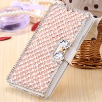 For Samsung Galaxy J5 2015 J500 Luxury Girl Woman Lady Jewelled Filp Leather Wallet Diamond Phone