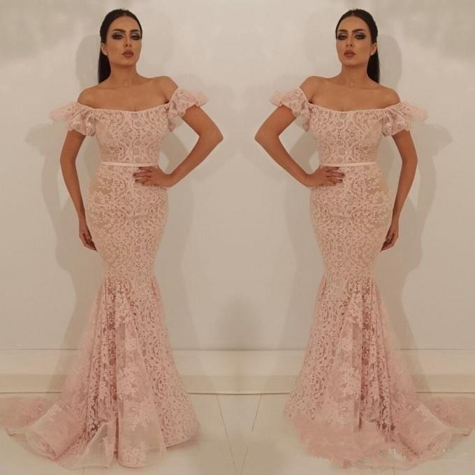Pink Muslim   Evening     Dresses   2019 Mermaid Off The Shoulder Lace Islamic Dubai Saudi Arabic Long   Evening   Gown Prom   Dress   Plus Size