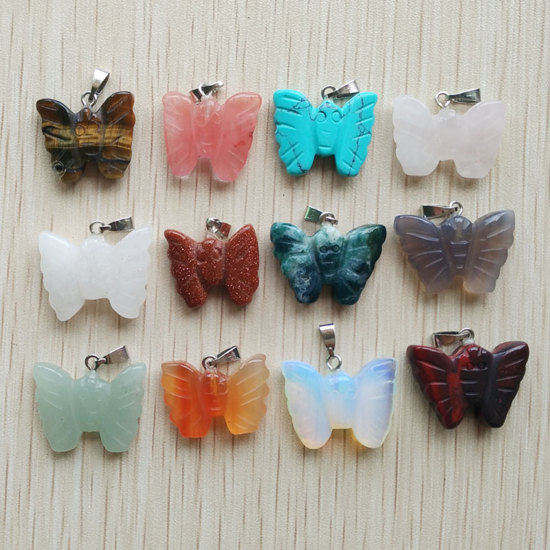Natural Stone Pendant  Butterfly Stone Pendant Beads Fit Necklace Making 12pcs