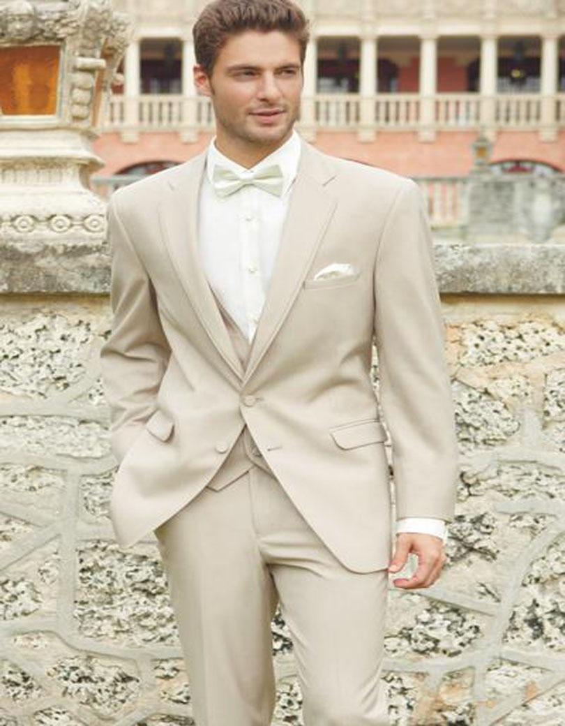 2017 Ivory Wedding Suits For Men Champagne Tuxedo Costume Homme Mariage 3 Peice Suit Bridegroom Groom Suit (Jacket+Pants+Vest)