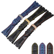 Free Shipping 28 mm Fit For Audemars Genuine Cowhide Leather Strap Band + Folding Clasp AP  for Piguet