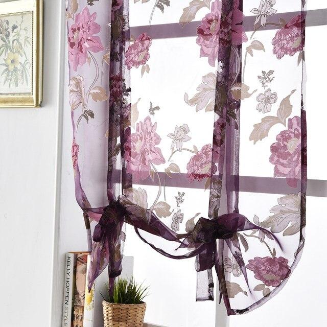 napearl bloemen romeinse gordijnen korte keuken volant gordijnen paars tulle stoffen sheer panel moderne gordijnen bloem venster