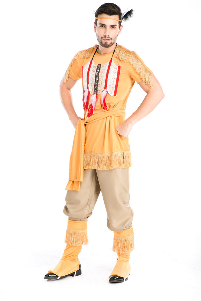 Adult Native American Red Indian Man Warrior Chief Fancy Dress Up Cowboy Costume