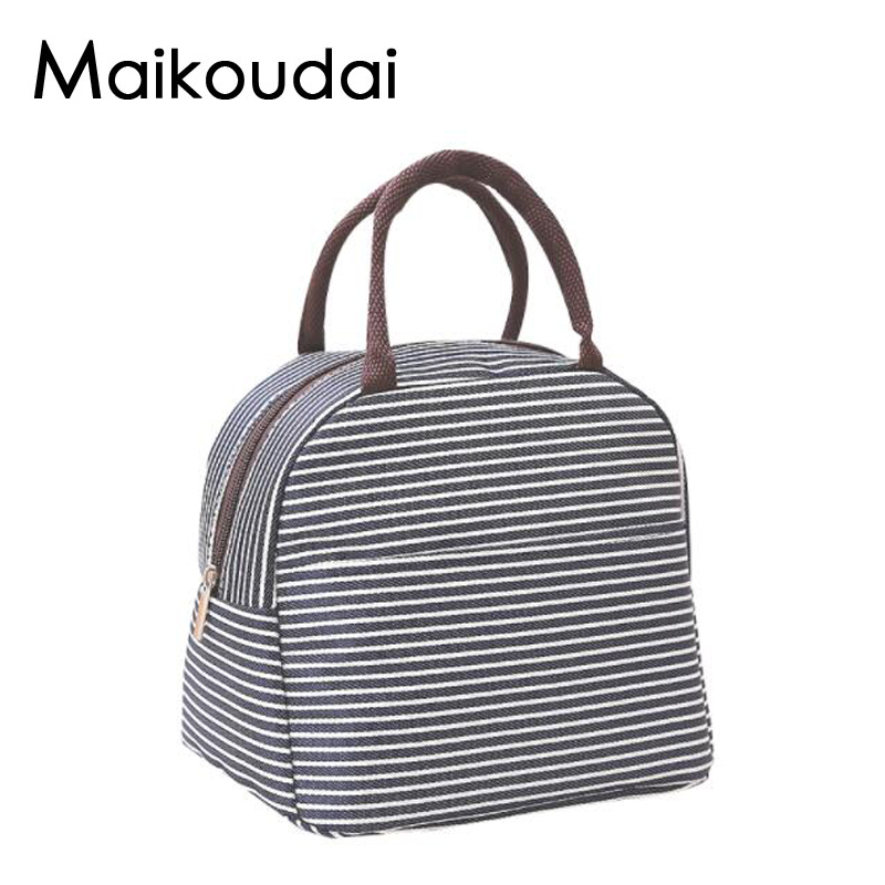 Maikoudai Thermo Lunch Bags Cooler Insulated Lunch Bags for Women Kids Thermal Bag Lunch Box Food Picnic Bags Tote Handbags sannen 7l double decker cooler lunch bags insulated solid thermal lunchbox food picnic bag cooler tote handbags for men women