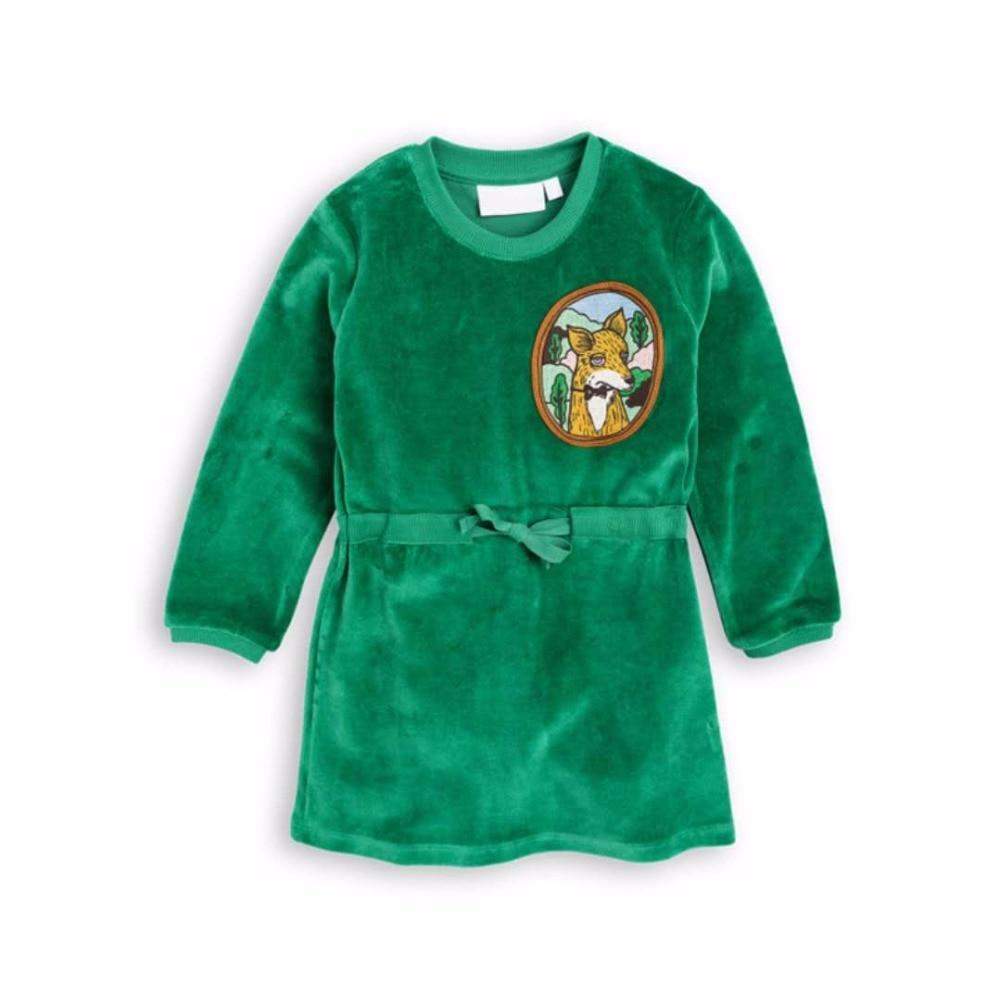 Fox Velour Velvet dress green