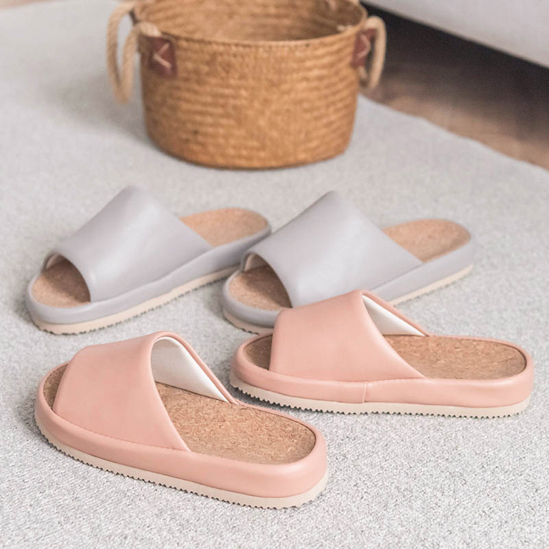 Home-Slippers Japanese Female Breathable Upper Women's Indoor PU Four-Seasons Open-Couple