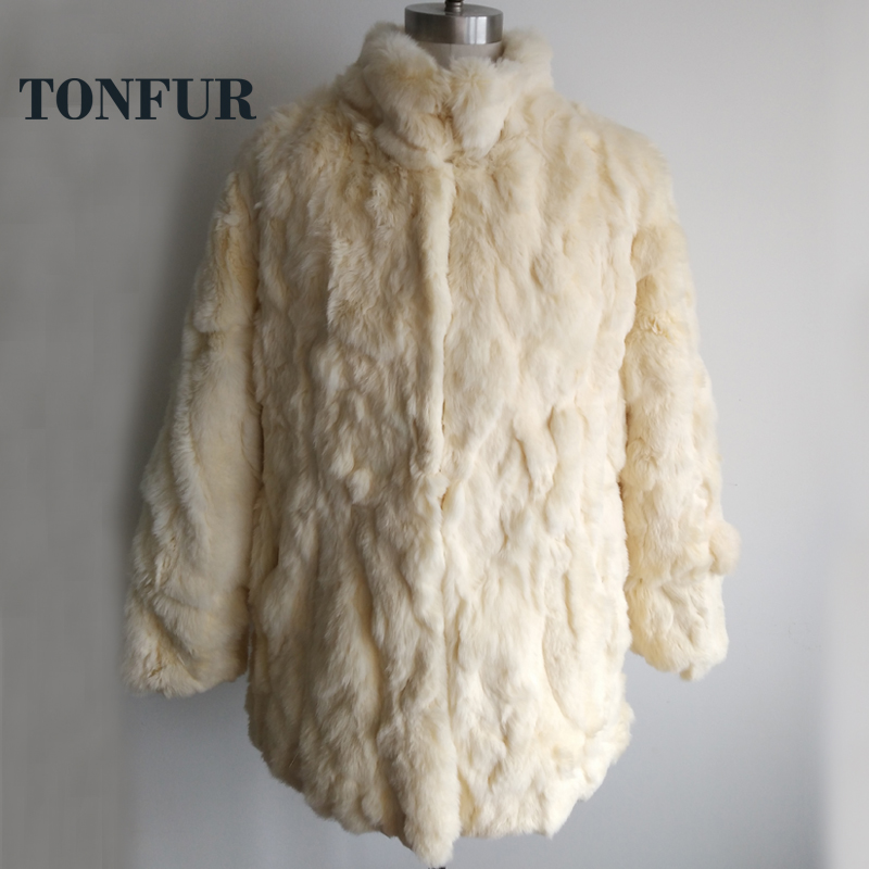 2019 New Fashion Mandarin Collar Genuine Rex Rabbit Fur Overcoat Hot Top Selling Factory Directly Real