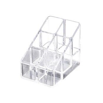 1 ud. Caja de almacenaje para maquillaje acrílico transparente para cosméticos de escritorio pintalabios soporte organizador de soporte de pantalla