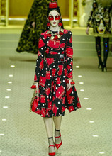 Fashion women long sleeve A line dress NEW 2018 spring summer runway print dresses Chic elegant dress S318 s318