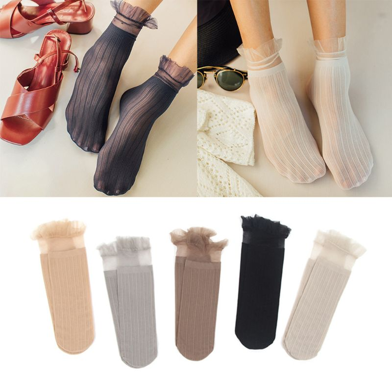 Women Girls Harajuku Velvet Thin Long Crew Socks Solid Color Ruffles Lace Trim Ribbed Knitted Semi Sheer Elastic Cuff Hosiery