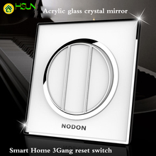 Acrylic glass crystal mirror switch panel smart home 3Gang reset