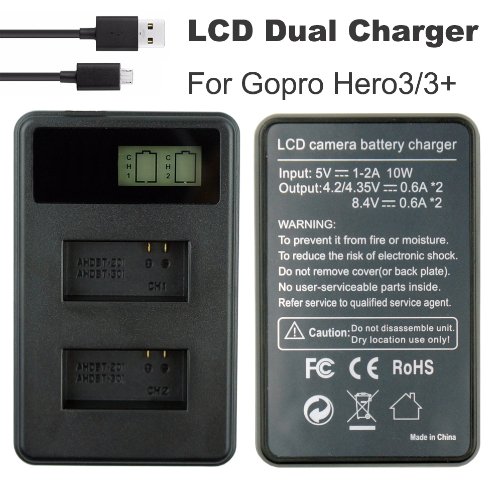 Go Pro AHDBT 301 battery Charger AHDBT 301 AHDBT 201 LCD Dual USB Hero 3 Charger For GoPro Hero3 3 Action Camera Accessories in Chargers from Consumer Electronics
