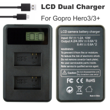 цена на Go Pro AHDBT-301 battery Charger AHDBT 301 AHDBT-201 LCD Dual USB Hero 3 Charger For GoPro Hero3 3+ Action Camera Accessories