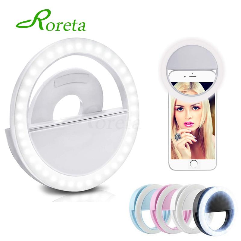 Roreta USB charge 36 lampes LED selfie lumière pour Iphone éclairage nuit obscurité photographie selfie anneau lumière pour tous les smartphones