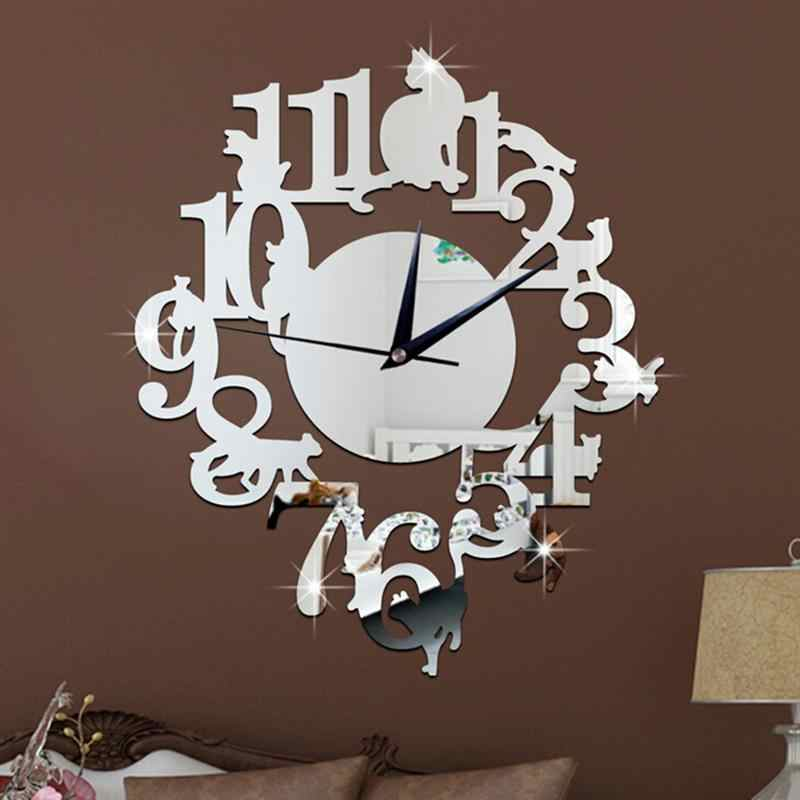 ثلاثية الأبعاد لتقوم بها بنفسك الاكريليك مرآة ملصق ساعة الحائط ساعة تُستخدم كديكور للمنزل غرفة المعيشة الديكور القط على الرف تصميم (الفضة)