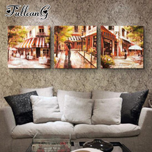 FULLCANG diy 3pcs/set diamond embroidery sale street scenery triptych 5d mazayka painting full square/round drill FC885