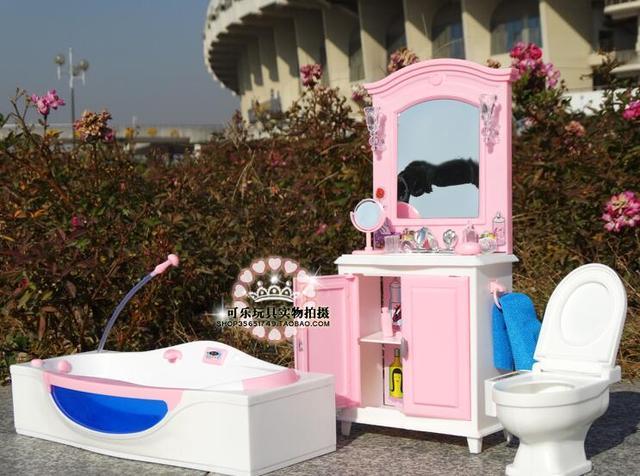 For Barbie Furniture Sets Dreamhouses Accessories For Barbie Toi Dolls  House Princess Fashion Bathroom Accessories Barbie