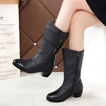 Women Square Heel Keep Warm Leather Booties Keep Warm Leather Booties Zipper Basic Blacke Martin Boots Round Toe Shoes(China)