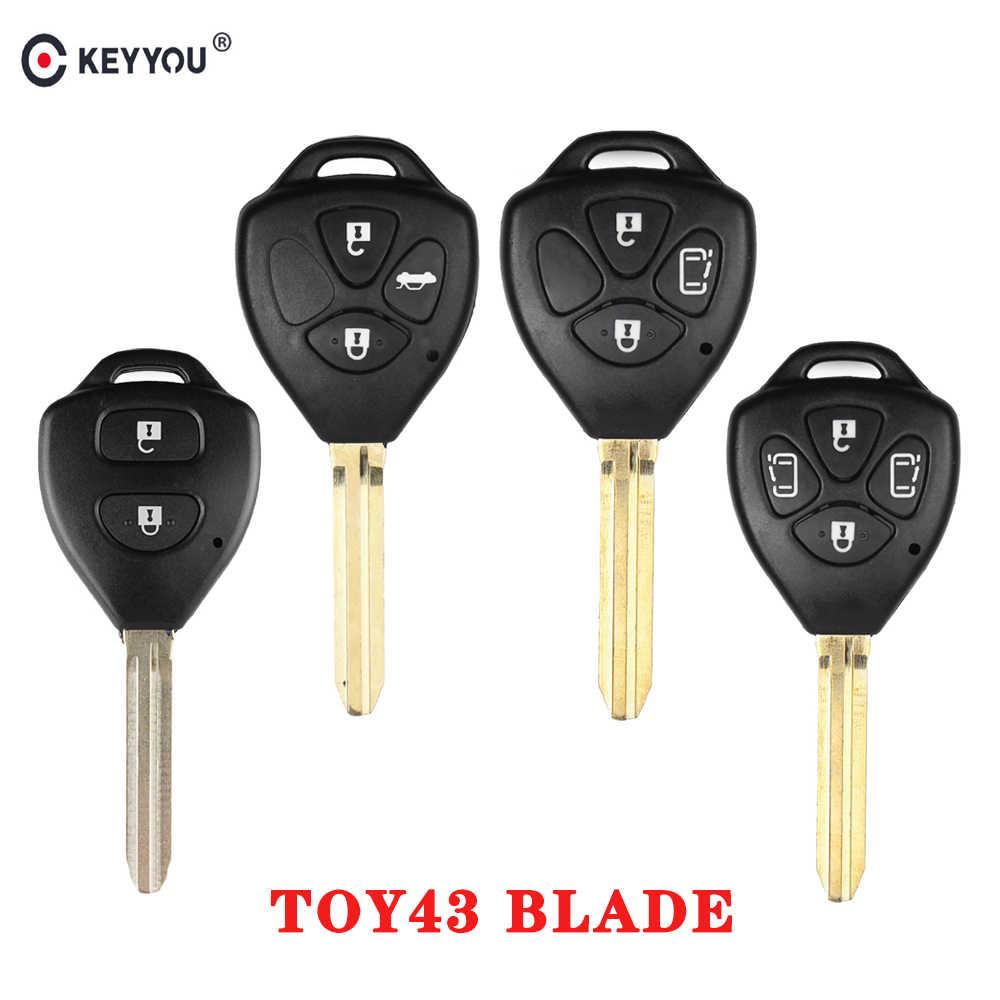 KEYYOU дистанционный ключ для автомобиля с чехла 2/3/4 BTN для Toyota Yaris Prado Tarago Camry Corolla RAV4 Hilux Vitz Aqua REIZ лезвие toy43