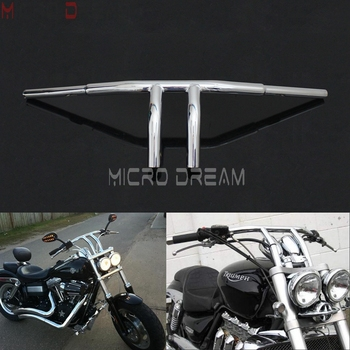 "Chrome Motorcycle 1-1/4"" Fat Bar Custom T Bars 8"" Rise Handlebar for Triumph Harley Sportster Dyna Chopper Suzuki S40 Cafe Racer"