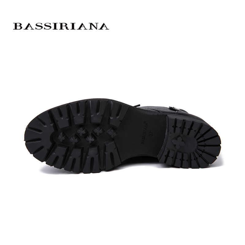 BASSIRIANA 2018 Kadın Botları Kış Hakiki Deri bağcıklı ayakkabı moda rahat ayakkabılar Kadın Botları boyutu 35-40