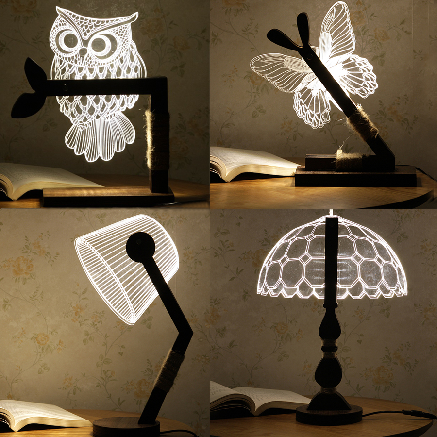 Thrisdar Dimmable 3D Acrylic LED Night Light 3D Owl Butterfly Bedroom Bedside Retro Wooden Table Lamps Christmas Birthday Gift wooden modern led 3d table lamps creative personality bedroom bedside night light lampe deco birthday gift elk