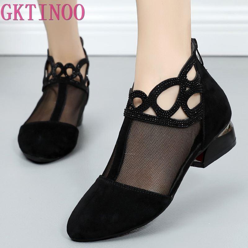 GKTINOO 2019 printemps été confortable femmes chaussures sandales maille en cuir véritable sandales bottines grande taille d'été femmes sandale