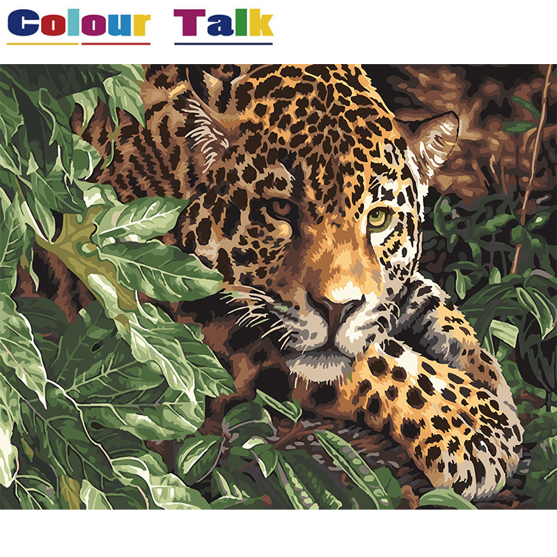 Oil Painting By Numbers Kits on Canvas Modern Hand Painted DIY Acylic Paintings for Living Room Animal Cheetah Leopard P-5007