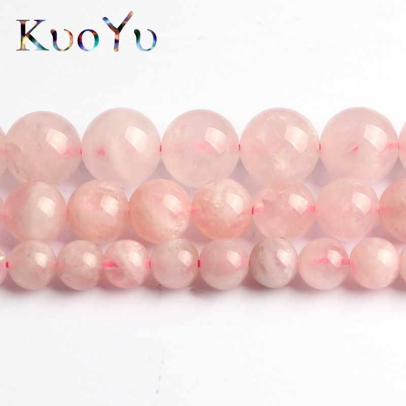 AA colgante de cuarzo rosa Natural de Madagascar cuentas espaciadoras redondas sueltas 15 ''hilo 6/8/10mm para fabricación de joyería DIY collar de pulsera