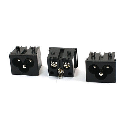 3 Pcs IEC320 C6 Inlet Male Plug Power Socket AC 250V/2.5A 7A/125V
