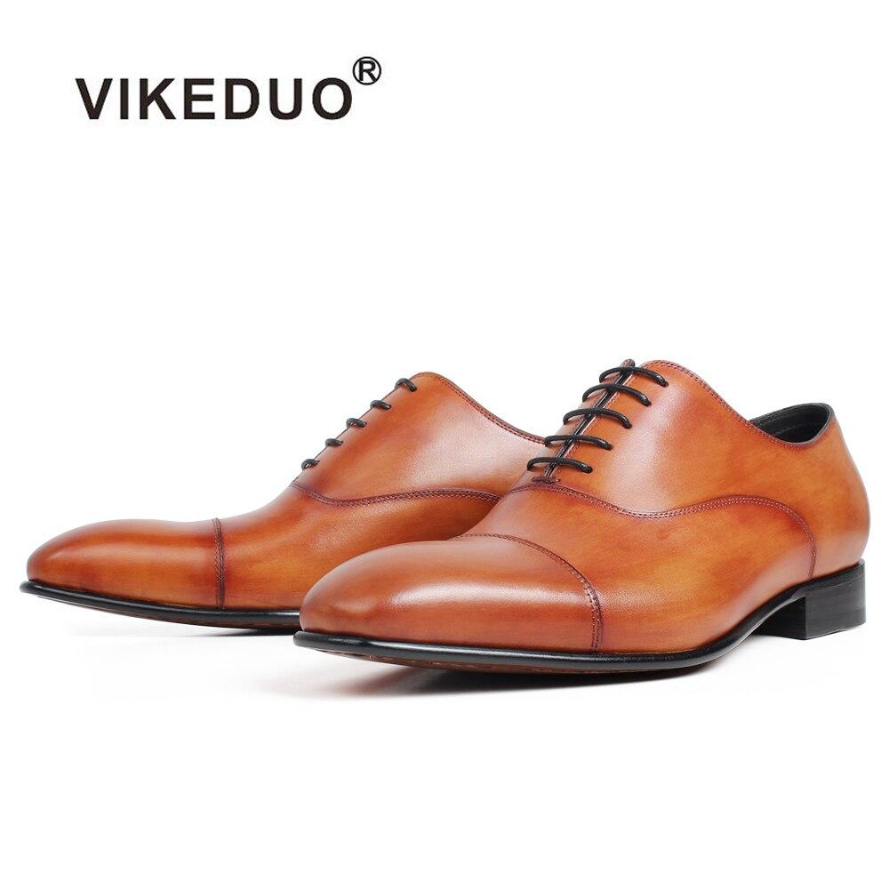 VIKEDUO pátina de Oxford Zapatos de vestir Zapatos Plaza genuino del dedo del pie de cuero de piel de vaca zapatos para hombres hecho a mano de los hombres de la boda la Oficina de