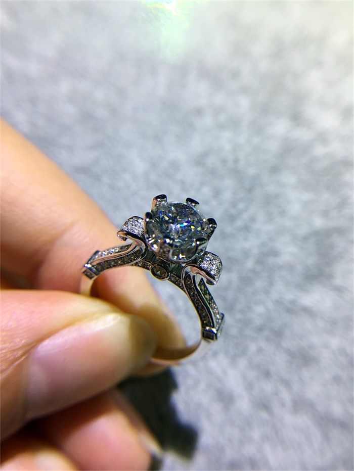 YINHEDหรูหราผู้หญิงLotus F Lowerแหวนเดิม925เงินสเตอร์ลิงเครื่องประดับ1กะรัตCZเพทายแหวนหมั้นสำหรับเจ้าสาวผู้หญิงZS902