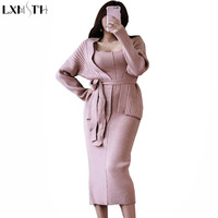 LXMSTH Two Piece Casual Women Set 2018 Spring New Korean Loose Knitted Cardigan Coat Suspender Dress Ladies Suits Formal Fashion
