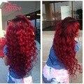 Paquetes de pelo Con El Cordón Cierres Rosa Productos Para el Cabello de Cierre Brasileño Ombre Red Hair Weave Bundles Con Cierre de 3 Paquetes