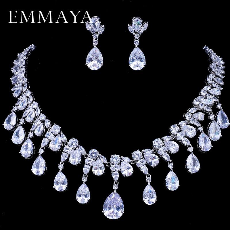 купить EMMAYA Water Drop White Cubic Zirconia CZ Silver Color Jewelry Sets For Women Fashion Bridal Earrings Pendant Necklace недорого